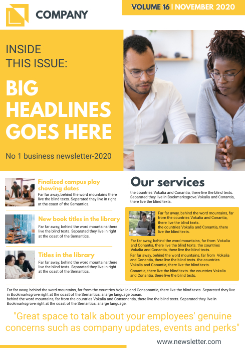 Yellow Custom Newsletter Page Template A4