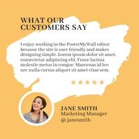 yellow customer testimonial feedback review g Instagram Post template