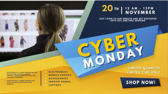 Yellow Cyber Monday Digital Sale Sign 数字显示屏 (16:9) template
