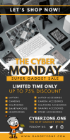 Yellow Cyber Monday Electronics Banner Cartel enrollable de 3 × 6 pulg. template