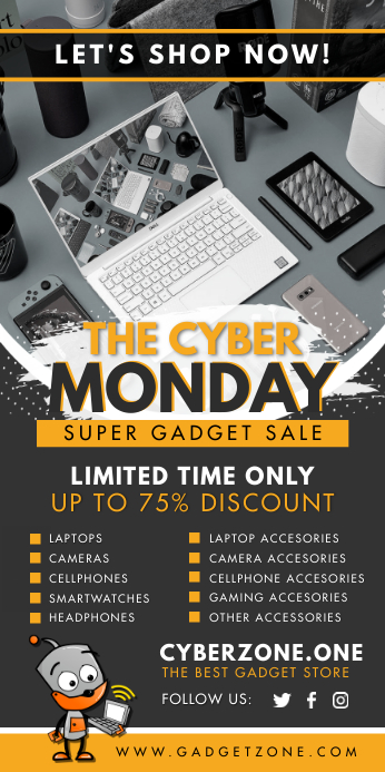 Yellow Cyber Monday Electronics Banner template