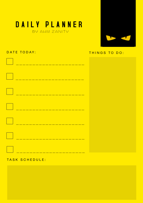Yellow Daily Planner List