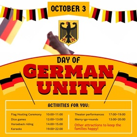 Yellow Day of German Unity Event Square Video
