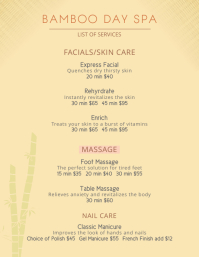 Yellow Elegant Price List Spa Flyer Template