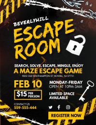 Yellow Escape Room Game Night Flyer