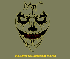 YELLOW FACE AND RED TEETH TATTOO TEMPLATE Medium Rectangle