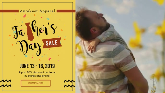 Yellow Father's Day Sale In Store Display