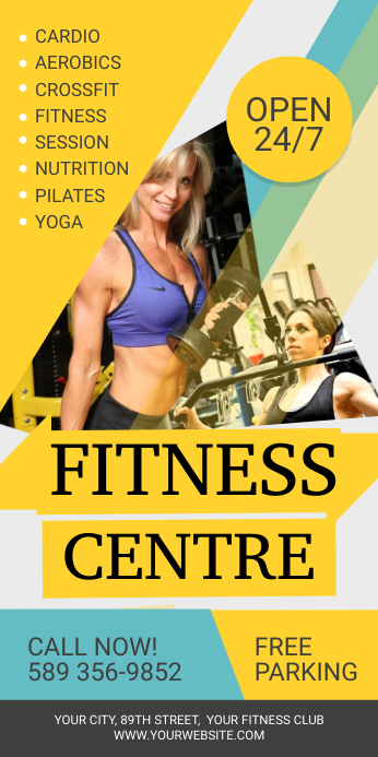 Yellow Fitness Gym Roll up Banner