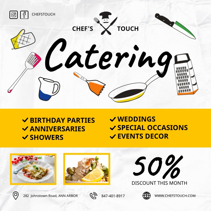 Yellow Food Catering Service Doodle Instagram template