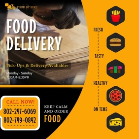 Yellow Food Delivery Take Out Ad