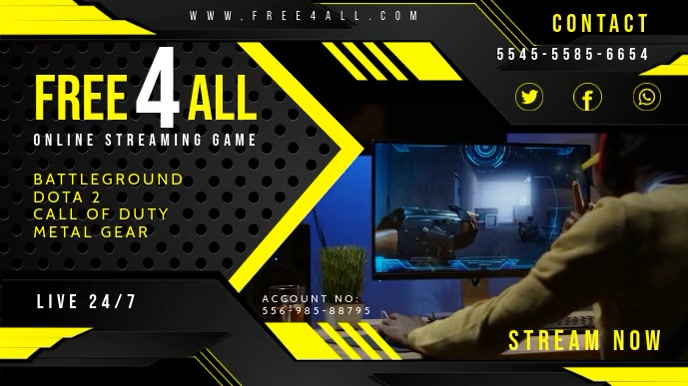 Yellow Game Streamer Twitch Banner template
