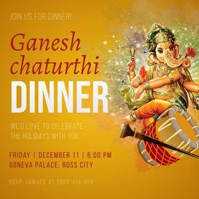 Yellow Ganesh Chaturthi Invitation Instagram template
