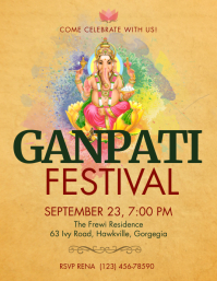 Yellow Ganpati Festival flyer Volante (Carta US) template