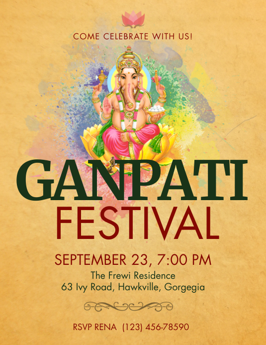 Yellow Ganpati Festival flyer ใบปลิว (US Letter) template
