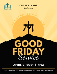 Yellow Good Friday Flyer Рекламная листовка (US Letter) template