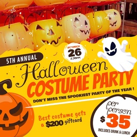 Yellow Halloween Costume Party Square Video