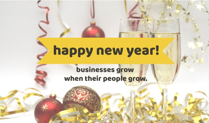Yellow Happy New Year Tag Label template