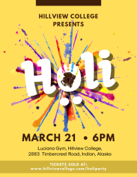 Yellow Holi Party Flyer