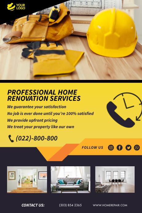 Yellow Home Renovation Refurbishing Flyer Poster template