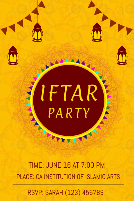 Yellow Iftar Party Poster Template
