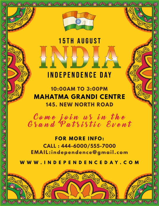 Yellow Indian Independence Day Flyer