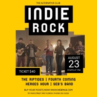 Yellow Indie Rock Concert Square Video template