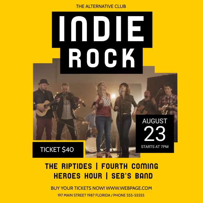 Yellow Indie Rock Concert Square Video สี่เหลี่ยมจัตุรัส (1:1) template