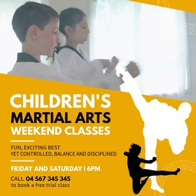 Yellow Karate Classes Ad Square Video Kvadrat (1:1) template