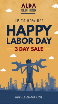 Yellow labor day sale instagram story template