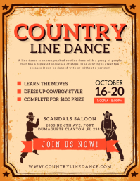 Yellow Line Dance Show Competition Flyet Temp Flyer (Letter pang-US) template