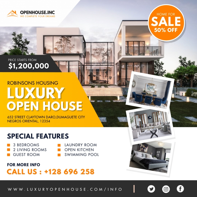 Yellow Luxury Open House Instagram Template Persegi (1:1)