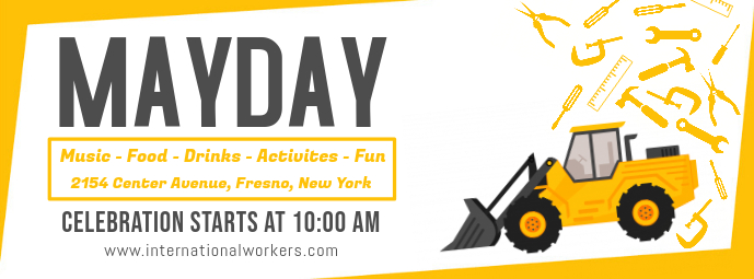 Yellow May Day FB Banner Design