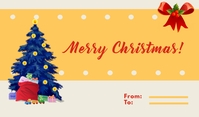 Yellow Merry Christmas Card Tag template