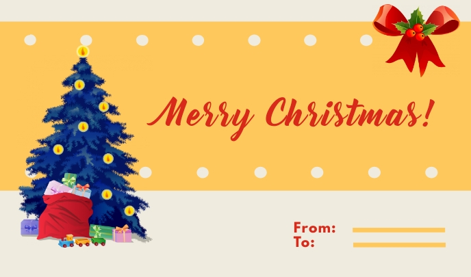 Yellow Merry Christmas Card Etiqueta template