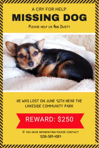 Yellow Missing Dog Poster