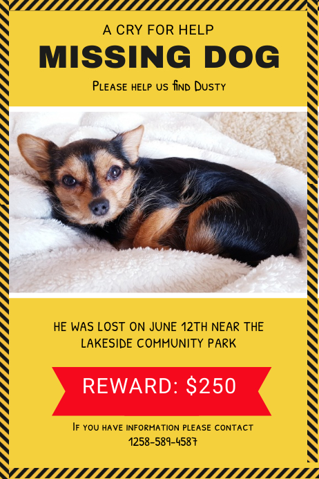 Yellow Missing Dog Poster template