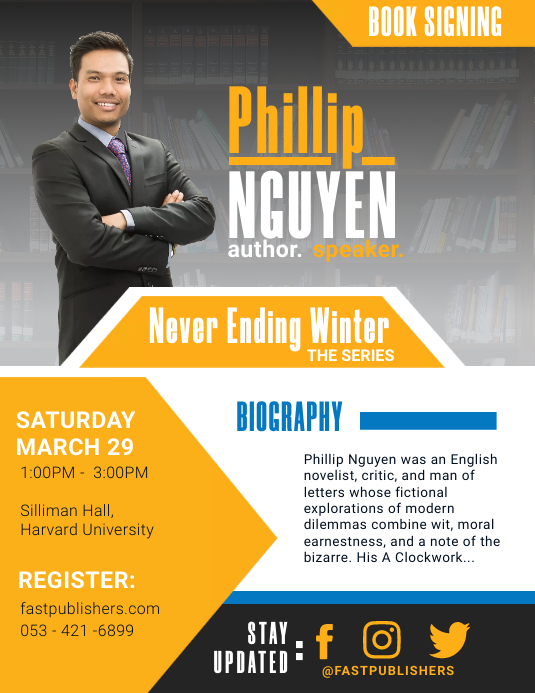 Yellow Modern Book Author Biography Flyer Tem Løbeseddel (US Letter) template