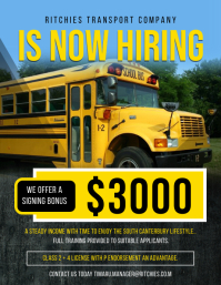 Yellow Modern School Bus Driver Hiring Flyer template