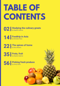 Yellow Modern Table of Contents A4 template