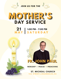 Yellow Mother's Day Church Service Flyer template