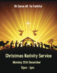 Yellow Nativity Service Flyer template