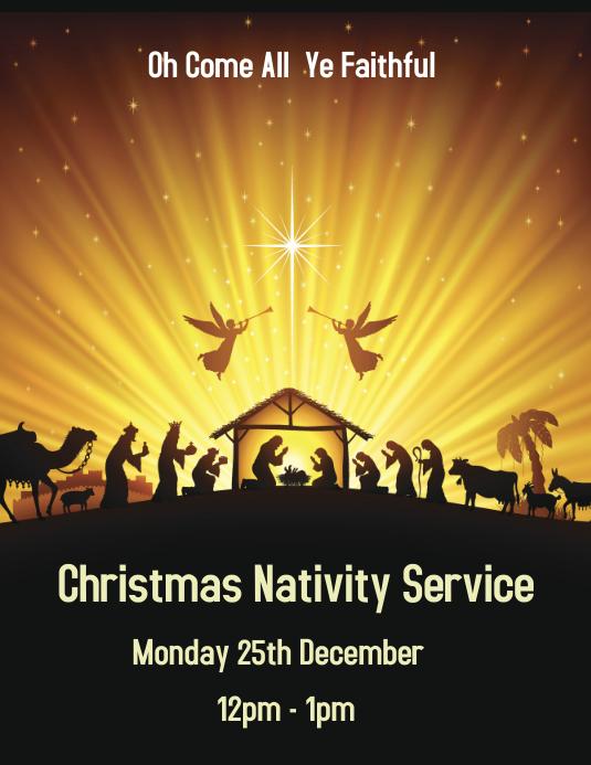 Yellow Nativity Service Flyer