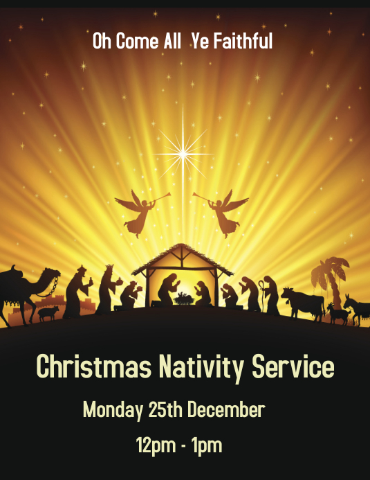 Yellow Nativity Service Flyer