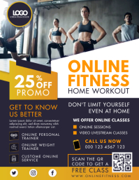 Yellow Online Fitness Home Workout Flyer