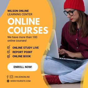 Yellow Online Video Courses Tuition Ad