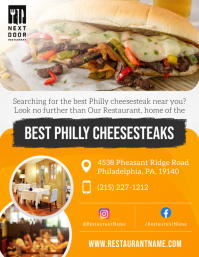 Yellow Philly Steak Restaurant Flyer template