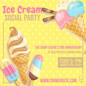 Yellow Polka Dots Ice Cream Social Ad