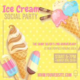 Yellow Polka Dots Ice Cream Social Ad Instagram Post template