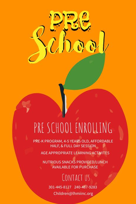 Yellow Preschool Poster Template