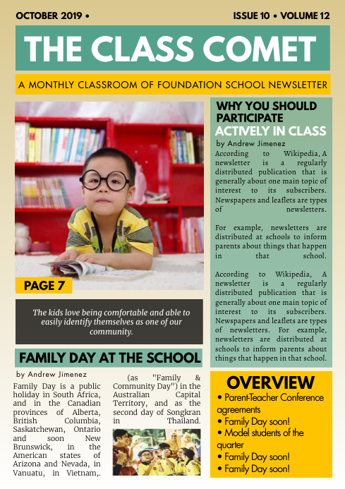 Yellow Primary School Custom Template A4